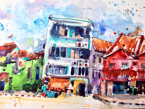 Sketching Boat Quay, Singapore.