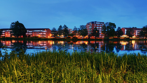 city trees houses lake water grass night reflections landscape lily sweden dusk clear sverige bluehour hdr eskilstuna foreground eskilstunaån strigeln