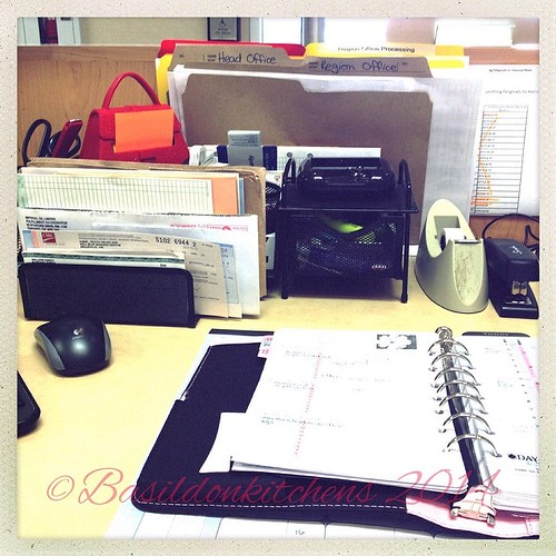 4/3/2014 - organization {files, bins, sorters, & day planner. Some if the ways I stay organized at work} #photoaday #organization #work #office #desk #planner #files