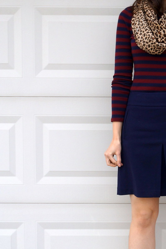 navy and red stripes and navy skirt and leopard scarf