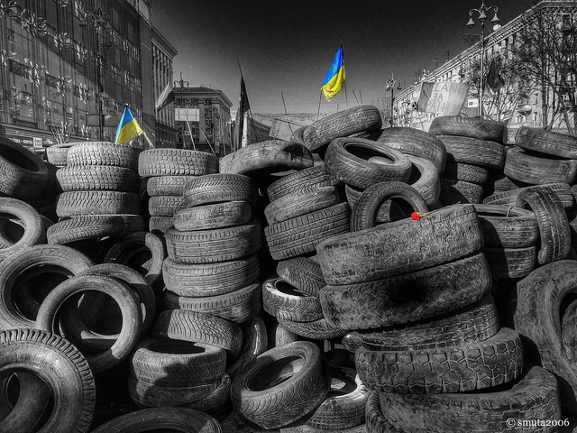 Tyre Barricade. Tribute to Dead Heroes of Freedom Fight in Ukraine
