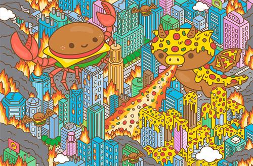 Attack of Burger Crab & Pizzasaurus