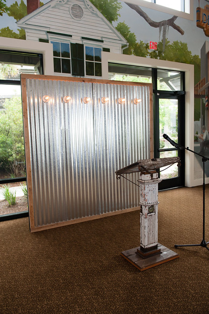 Corrugated Metal Backdrop 8'x8' and Historic Charleston Podium (2)