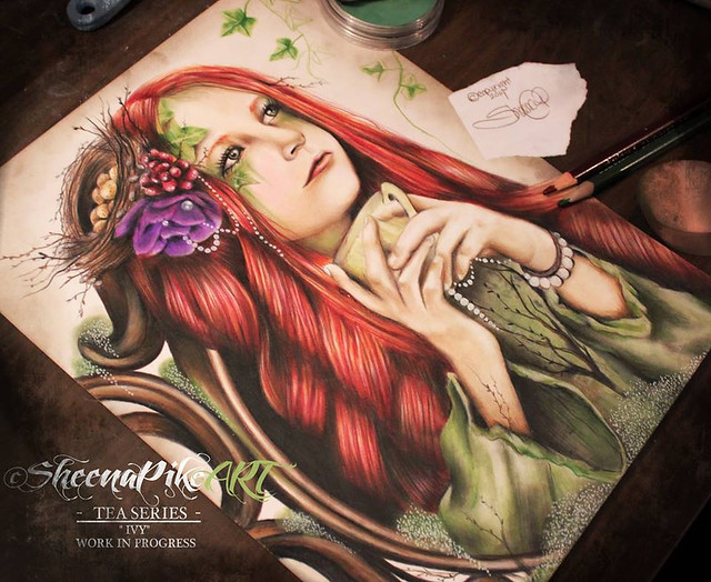 "�Sheena Pike Art  ""Ivy"" - Tea Series  Close to completion  Work in Progress"