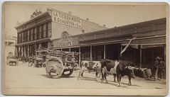 [Ox cart with storefronts in background, El Paso, Texas]