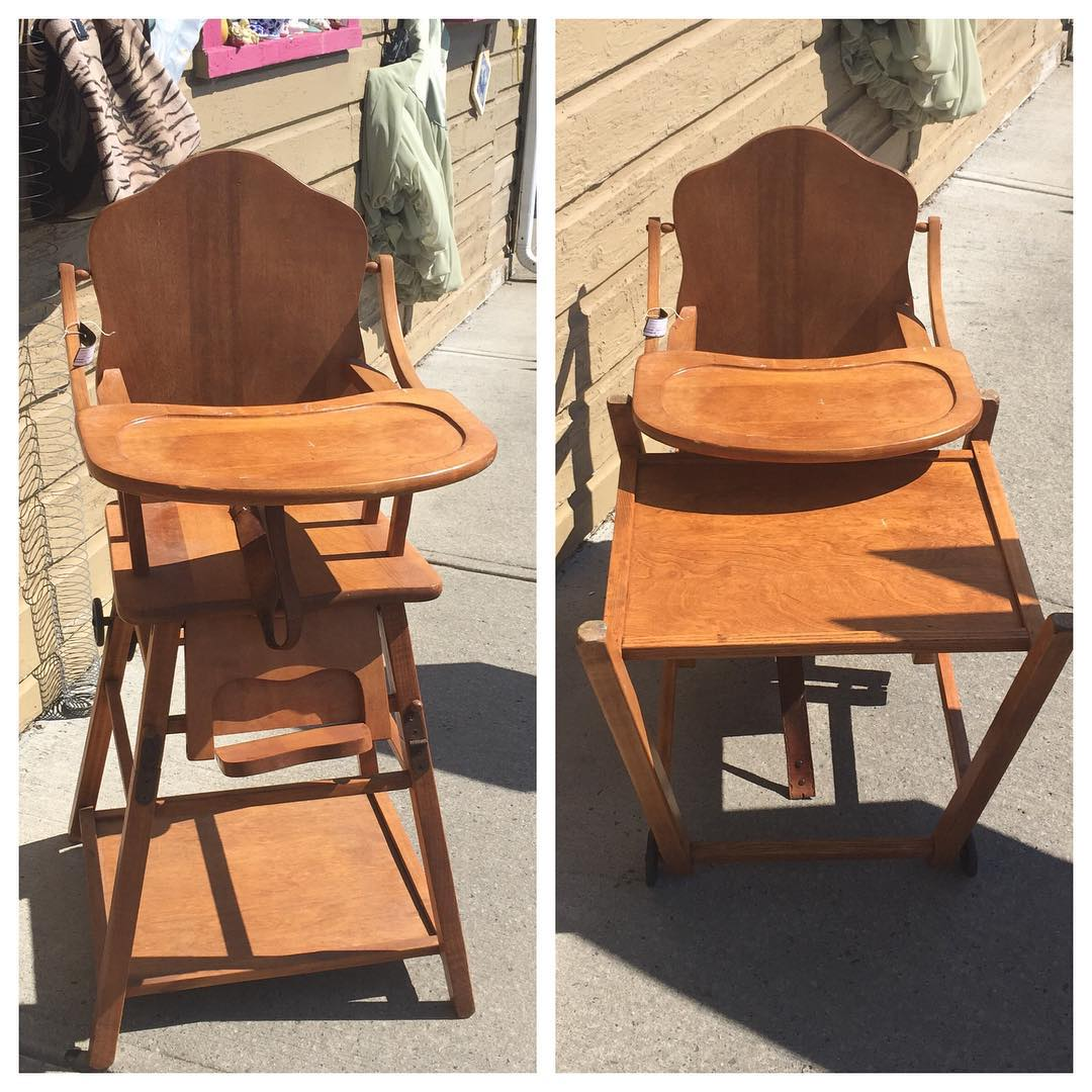 Antique Wood Convertible High Chair To Desk $95.00