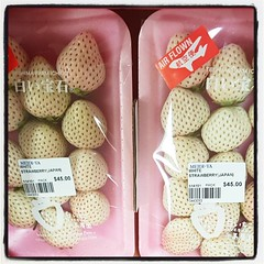 That's right boys and girls... White strawberries cost from S$3-4 each!!