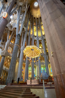 Image of Basilica de la Sagrada Família near Gràcia. spain travel altar architecture barcelona catalunya christ church colors cross europe familia gaudí holy indoor interior jesus lights religion sagrada
