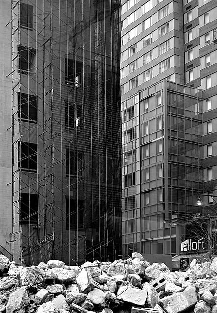 Duffield Street Hotels (one seen through demolition debris)