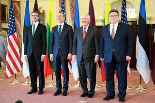 Secretary Tillerson Poses for a Photo With Latvian Foreign Minister Rinkevics, Lithuanian Foreign Minister Linkevicius, and Estonian Foreign Minister Mikser in Washington