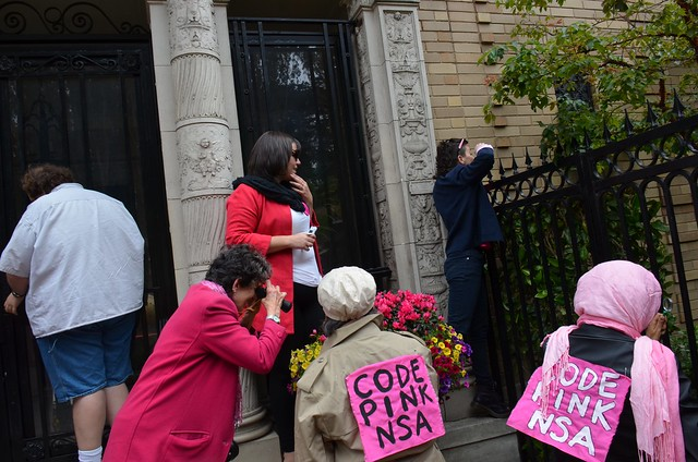 Code Pink NSA protest at Sen Dianne Feinstein's house