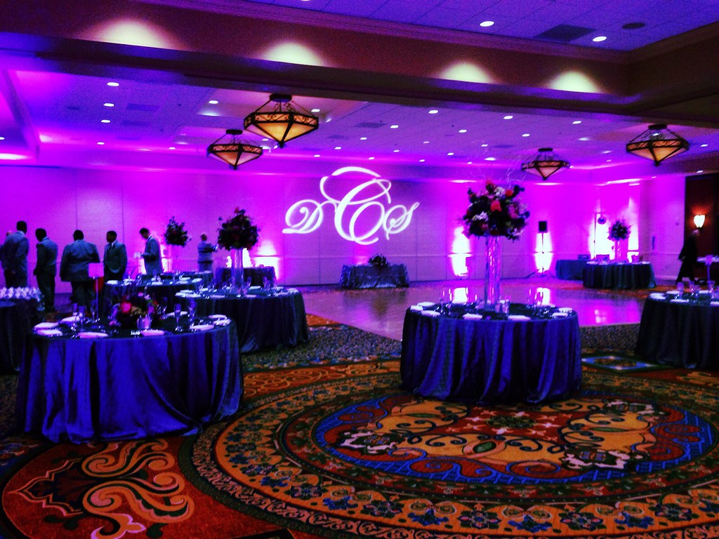 Purple Lighting - Monogram Projection - San Antonio Marriott Riverwalk & Monogram or Logo Projection Services by Intelligent Lighting Design ...