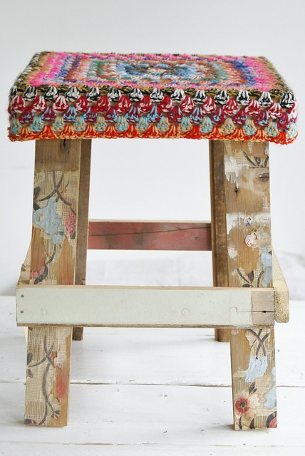 wood & wool 'fashion' stool