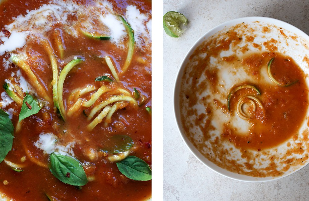 Curry Tomato Soup + Zucchini Noodles