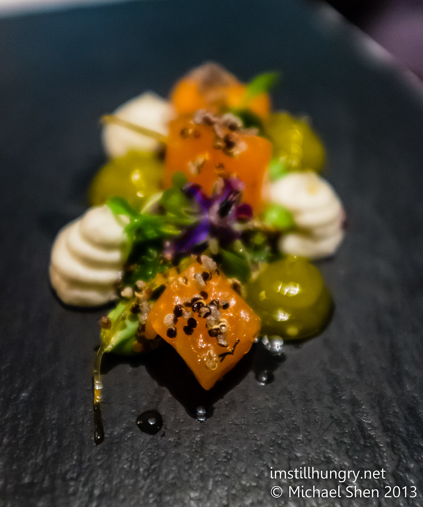Citrus and vodka cured salmon, black quinoa, olive oil jam, smoked yoghurt, tangerine vinaigrette Ezard