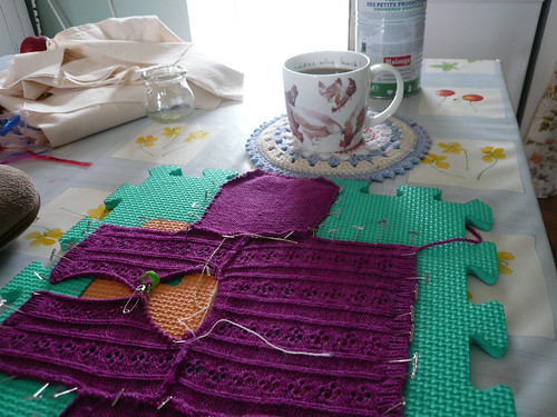 Cardigan blocking with coffee