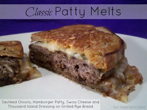 Classic Patty Melt on white plate.