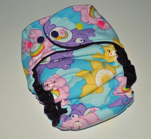 Bumstoppers One Size Hybird Fitted Care Bears Cotton Velour Snap Down or  Fold over