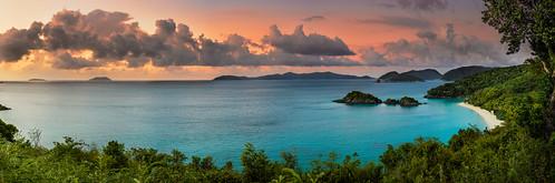 sunset panorama beach beautiful st john landscape island bay paradise trunk d800 usvi