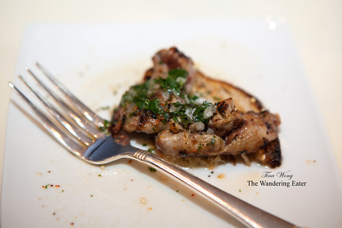 Grilled quail on seeded toast with warm parsley vinaigrette by Gabrielle Hamilton by Prune