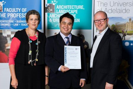 2011 Winner: Min Tshung Voo - Presented by Richard Hosking (State Chapter Manager-AIA) & Ms Tanya Court (Acting Head of School)