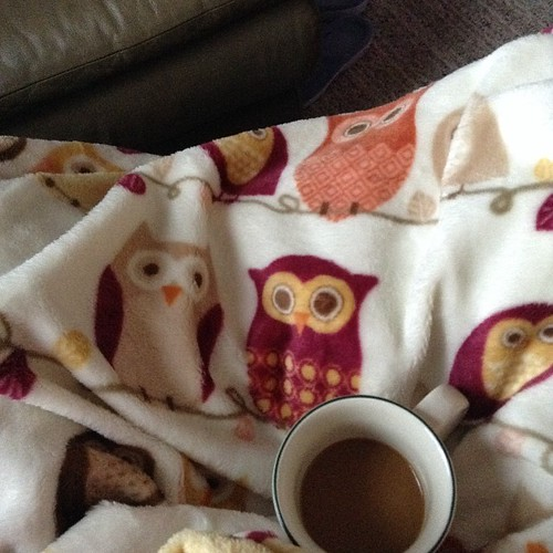 #hellomorningcoffee with my new owl blanket!