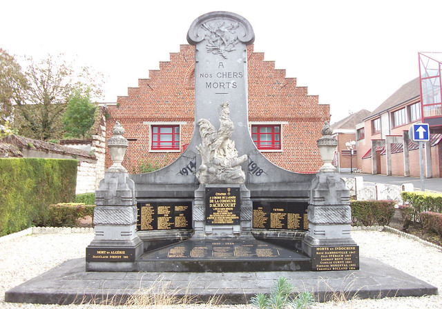 The village war memorial which includes the names of the thi
