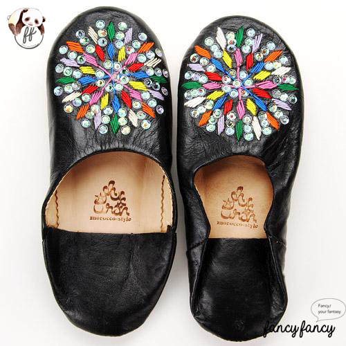 80.繽紛糖果MIX亮片刺繡皮拖鞋(摩洛哥製)-黑色