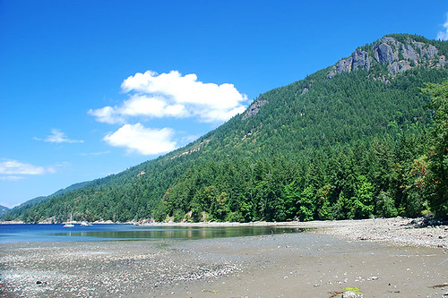 Mount Maxwell viewed from Burgoyne Bay Park, Burgoyne Valley, Saltspring Island, Gulf Islands, British Columbia