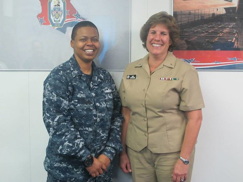 Yeoman 1st Class Shanika Jones (left) Rear Admiral Barbara Sweredoski (right)