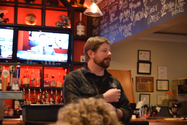 Doc from Triangle Brewing introducing the beers and pairings