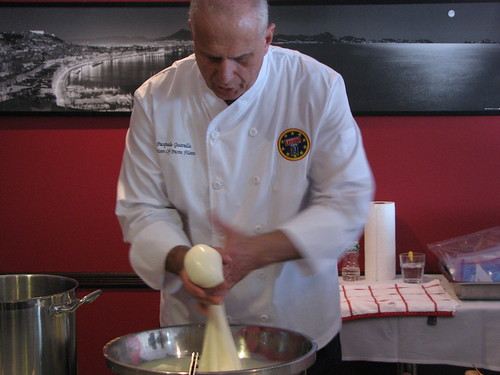 Pasquale Guarella demonstrating mozzarella making