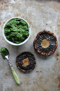 Portobello, Gouda and Kale Pesto Grilled Cheese