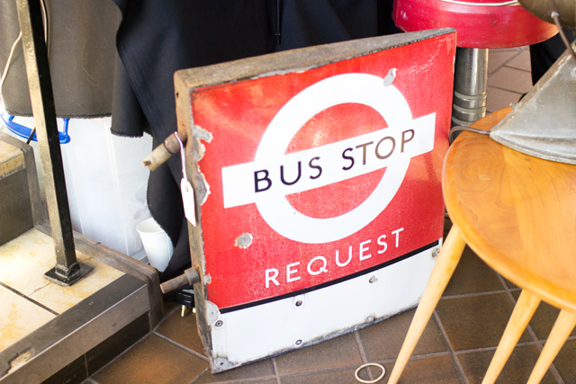 vintage bus stop sign