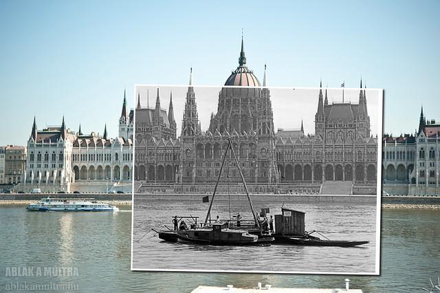Budapest, Parlament, az előtérben talajkutató fúrás a metróépítéshez fortepan_12792