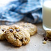 Chocolate Chip Cookies and Milk on a Wooden Surface