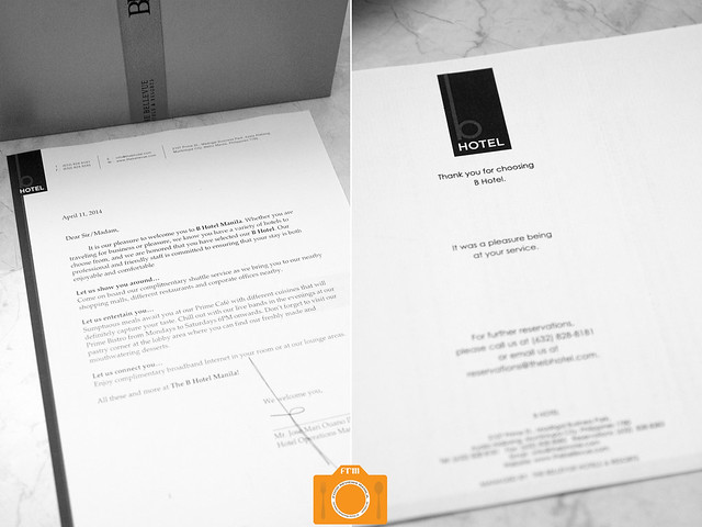 B Hotel welcome letter