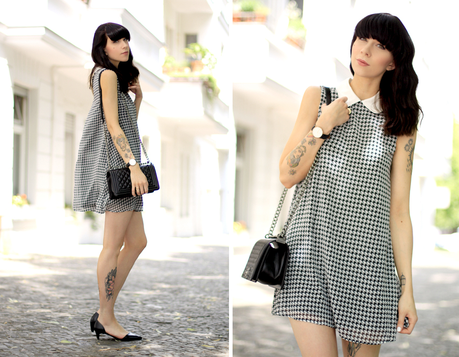 AX Paris dogtooth hahnentritt Muster pattern babydoll dress summer Berlin CATS & DOGS fashion blog Ricarda Schernus 1