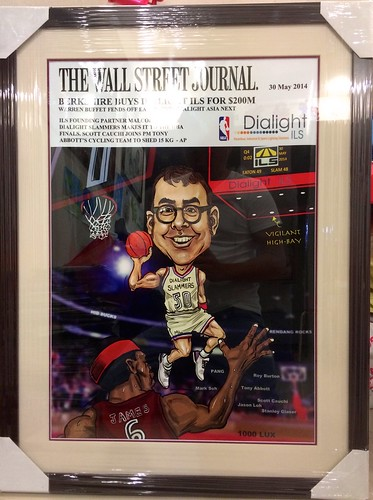 digital basketball player caricature for Dialight ILS framed up