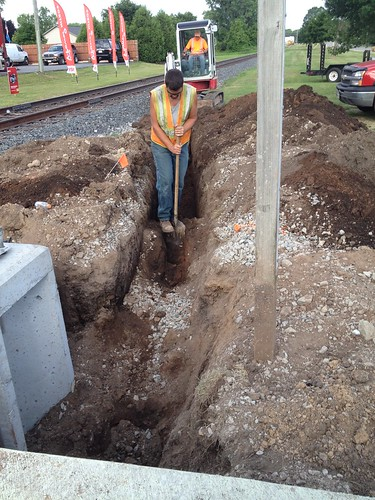 7/23/2015. Oconto Falls update.  HWY 22 Crossing is getting electrified.  Hopefully they get some customers soon.  DOT and the installers were friendly.
