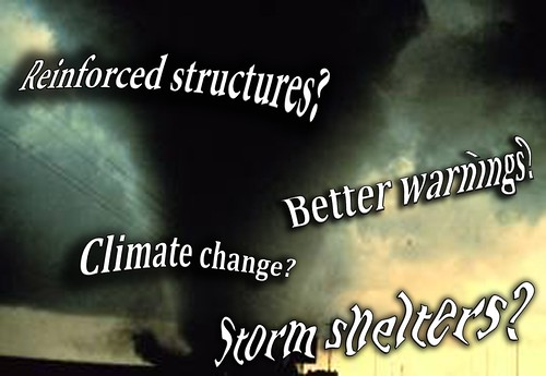 Image of tornado with flying words