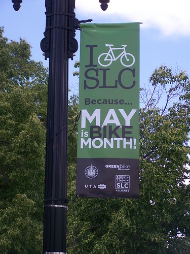 May is Bike Month banner, Salt Lake City