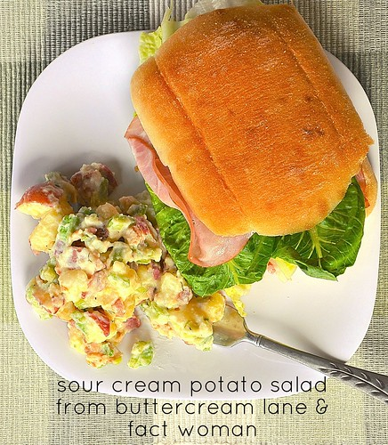 sour cream potato salad from buttercream lane and fact woman