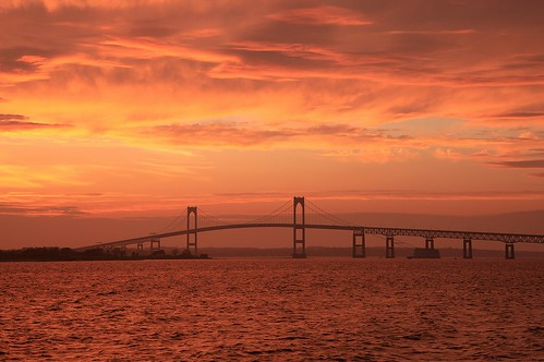 Newport Bridge, from Goat Island, Sunset by print57 via I {heart} Rhody