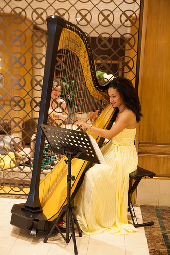 Lovely harpist playing during afternoon tea