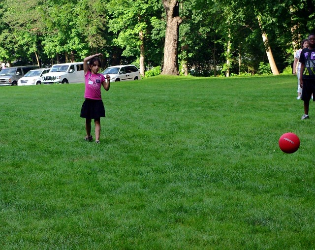 Rosie pitching her first kick ball game