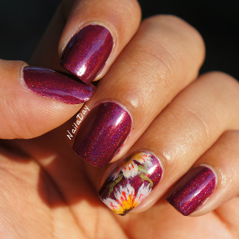 NailaDay: Borghese Sonata Berry Franken with freehand acrylic flowers