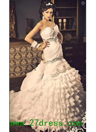2013 White Evening Dresses New Sexy Sweetheart Bling Organza Mermaid Wedding  From 27dress 9448ecfa33cc