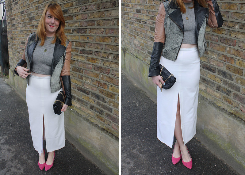 Top UK Fashion Blog ASOS White Split Skirt and Crop Top