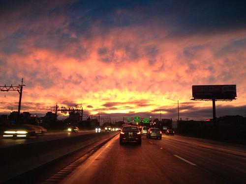 road sunset highway harrison nj newark apocalyptic i280 angrysky wildclouds openingintheclouds